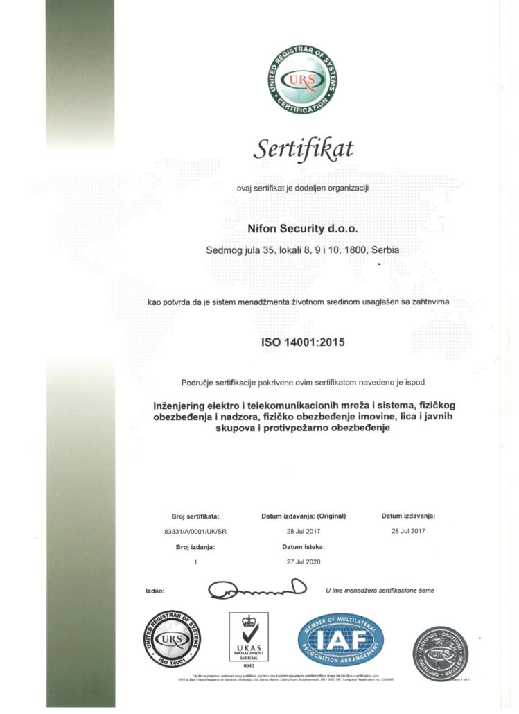 Sertifikat kao potvrda da je sistem menadžmenta životnom sredinom usaglašen sa zahtevima ISO 14001:2015
