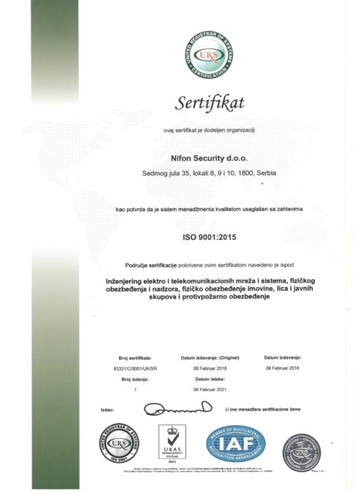 Sertifikat kao potvrda da je sistem menadžmenta kvalitetom usaglašen sa zahtevima ISO 9001:2015