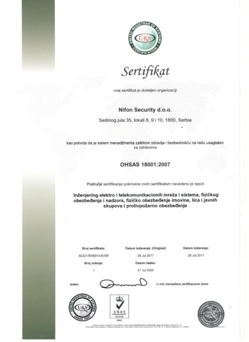 Sertifikat kao potvrda da je sistem menadžmenta zaštitom zdravlja i bezbednošću na radu usaglešen sa zahtevima OHSAS 18001:2007