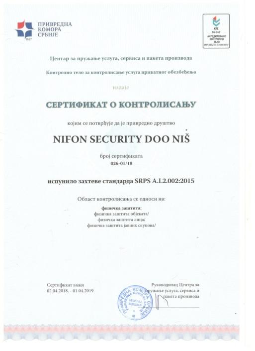 Sertifikat o kontrolisanju kojim se potvrđuje da je privredno društvo Nifon Security doo Niš ispunilo zahteve standarda SRPS A.L2.02:2015